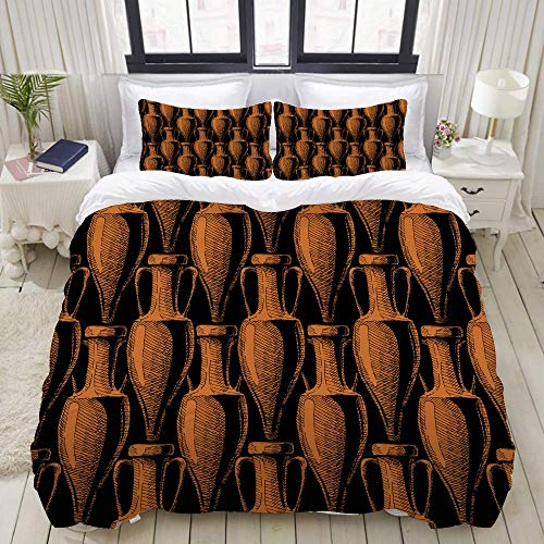 Nonun Bettbezug-Set, Vector Seamless Pattern Antike Amphore, buntes dekoratives 3-teiliges Bettwäscheset mit 2 Kissenbezügen