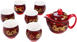 ufengke 7 Piece Chinese Kung Fu Tea Set, Vintage Bone China Tea Cup Set For Gift, Tea Service, Yellow Dragon Painting, Red