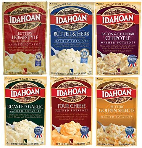 Idahoan Kartoffelpüree mit Aroma, 113 ml (6 Stück) inkl. Butter & Kräuterpüree + Speck & Cheddar Chipotle + vier Käse + gerösteter Knoblauch + Buttery Golden Selects