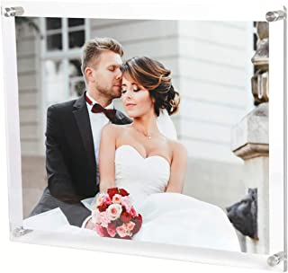 Magicool 8.5 x 11 Clear Acrylic Wall Mount Floating Double Panels Frameless Picture Frame for Picture Photo Degree Certificate Home or Office(Full Frame is 9.5 x 12 inch)