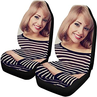 MyPupSocks Custom Face Photo Car Seat Covers, Personalized Happy Casual Blond Woman Looking with Smiling Car Seat Protector 2 Pack