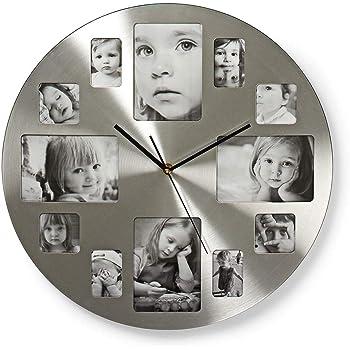 Relaxdays Horloge murale cadre photo /à compl/éter avec vos propres photos HxlxP 39x39x4cm argent/é