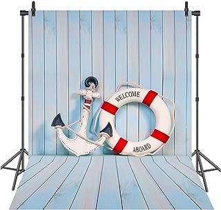 Sensfun 7X10ft Nautical Backdrop Mariner Seafaring Light Blue Wooden Board Life Buoy Anchor Boat Photography Background Children Boy Artistic Portrait Photoshoot Studio Props Video Drape