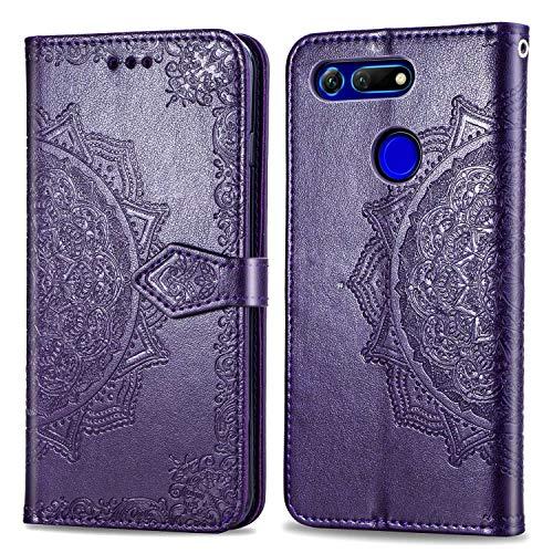 Bear Village Hülle für Huawei Honor View 20, PU Lederhülle Handyhülle für Huawei Honor View 20, Brieftasche Kratzfestes Magnet Handytasche mit Kartenfach, Violett