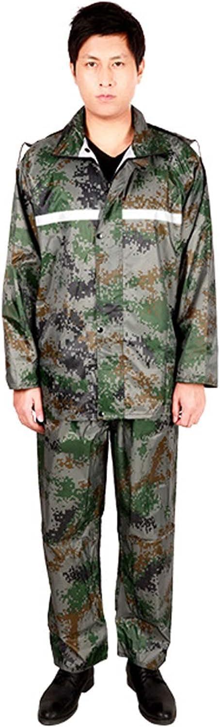 FHGH Adult Camouflage Split Raincoat, PVC Reflective Raincoat and Rain Pants Suit, Double-Layer Commuter Rainsuit,Camouflage,XXXXLarge