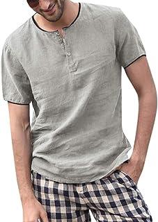 Zegeey Men's Baggy Solid Cotton Linen Short Sleeve Button T Shirt Tops Blouse T Shirt Tops Blouse Short Sleeve Shirt Button Down Collar
