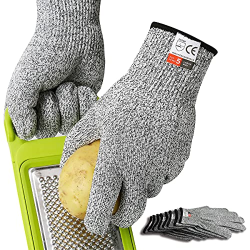 5 Pairs Safe Work Gloves Cut Resistant Level 5 Protective Kitchen Cutting Garden Wood Carving Food Grade,Large Grey