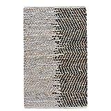 LaLe Living - Alfombra pequeña con estampado de Nila en color natural y marrón y negro, mezcla de materiales de yute y piel reciclada, 90 x 60 cm, para la entrada de casa, el baño o el dormitorio