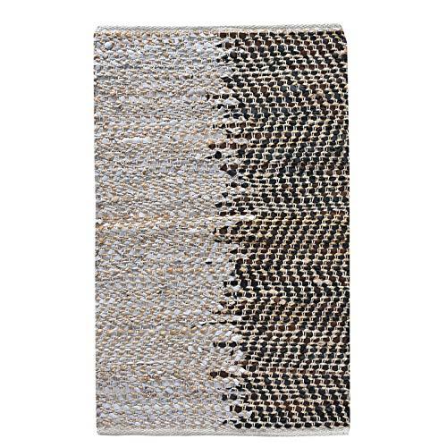LaLe Living Kleiner Teppich NILA Gemustert in Natur & Braun/Schwarz Materialmix Jute & recyceltem Leder, Vorleger in 90 x 60 cm für Hauseingang, Badezimmer oder Schlafzimmer