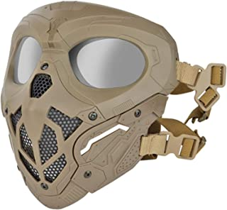 JFFCESTORE Tactical Protective Airsoft Mask Full Face Mask Dual Mode Wearing Design Adjustable Strap for Halloween Airsoft...