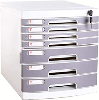 Armoire de rangement multi-tiroirs avec serrure et tiroirs - Boîte de rangement en plastique A4 - 7 étages