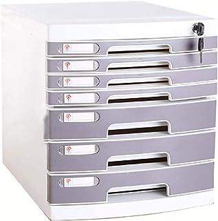 Armoire de rangement multi-tiroirs avec verrou - Organiseur de bureau - Boîte de rangement en plastique A4 - 7 étages