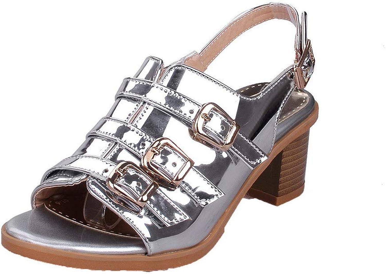 WeenFashion Women's Buckle Open Toe Kitten-Heels PU Solid Sandals
