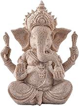 Flameer Soild Sandstone Ganesha Staute India Lord Ganesh Elephant God for Fish Tank Aquarium Table Decoration