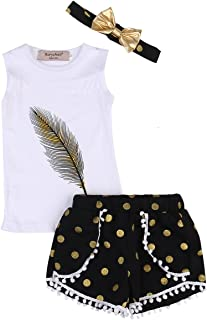 3PC Baby Girl Feather Vest Tops+Golden Dots Tassels Short Pants+Bowknot Headband