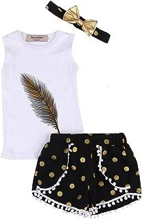 3PC Baby Girl Feather Vest Tops+Golden Dots Tassels Short Pants+Bowknot Headband