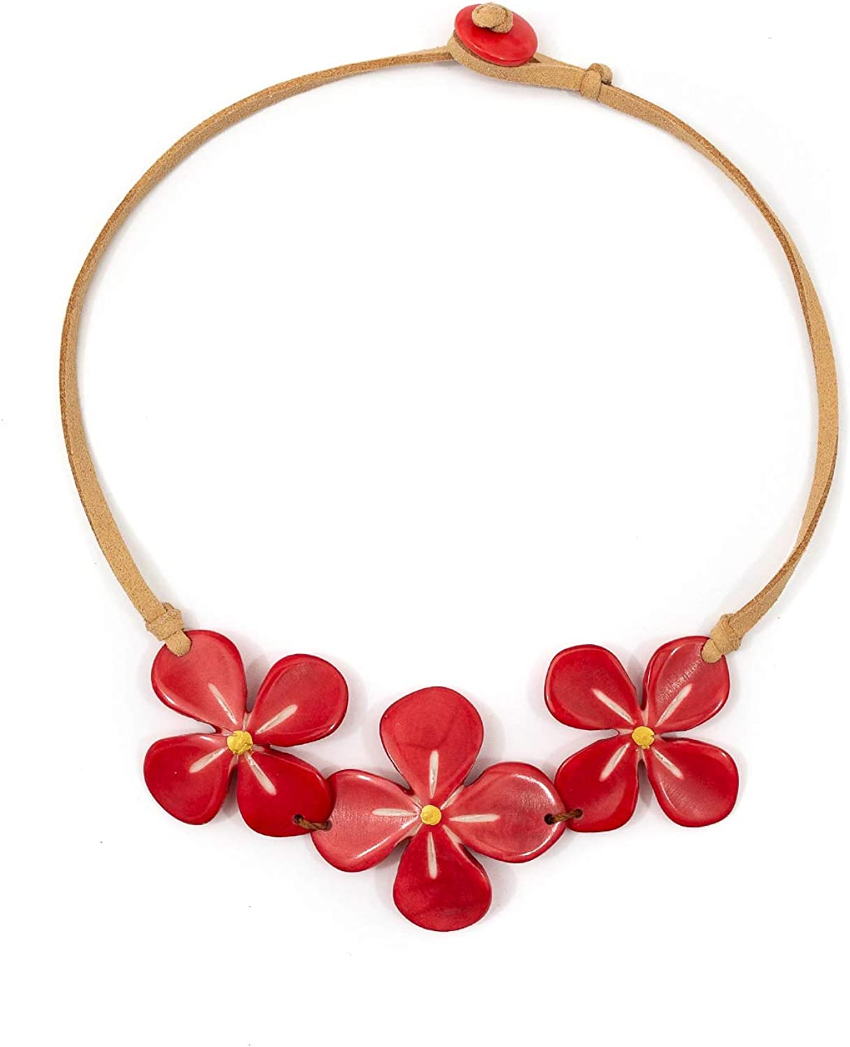 Tagua Hibiscus Fashion Necklace Tagua Nut Ethical Bead Slow Fashion Beaded Wooden Eco Friendly Boho Unique Handmade Statement Jewelry