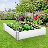 GARTIO PVC Raised Garden Bed, 4x4ft Vinyl Raised Planter Kit, Outdoor Above-Ground Garden Box, with Grow Grid, Screwless Assembly, for Vegetables, Flowers, Organic Herbs, DIY Gardening, Whelping Pen