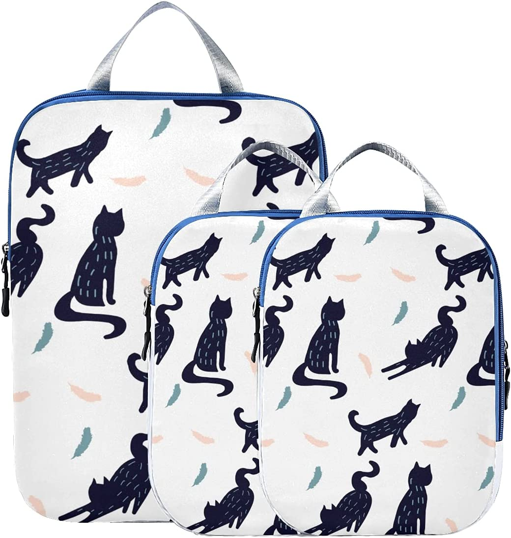 New Orleans Mall Travel Organizer Cubes Feather Cat Animal Packing Recommendation Cartoon