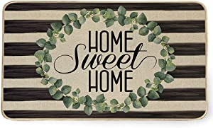 AENEY Home Sweet Home Door Mat, Leaves Wreath Stripe Decorative Switch Mat Doormat ,Washable Rubber Non Slip Front Door Entrance Rug, Holiday Farmhouse Home Decor Indoor Outdoor Mat 17x29 Inch D006