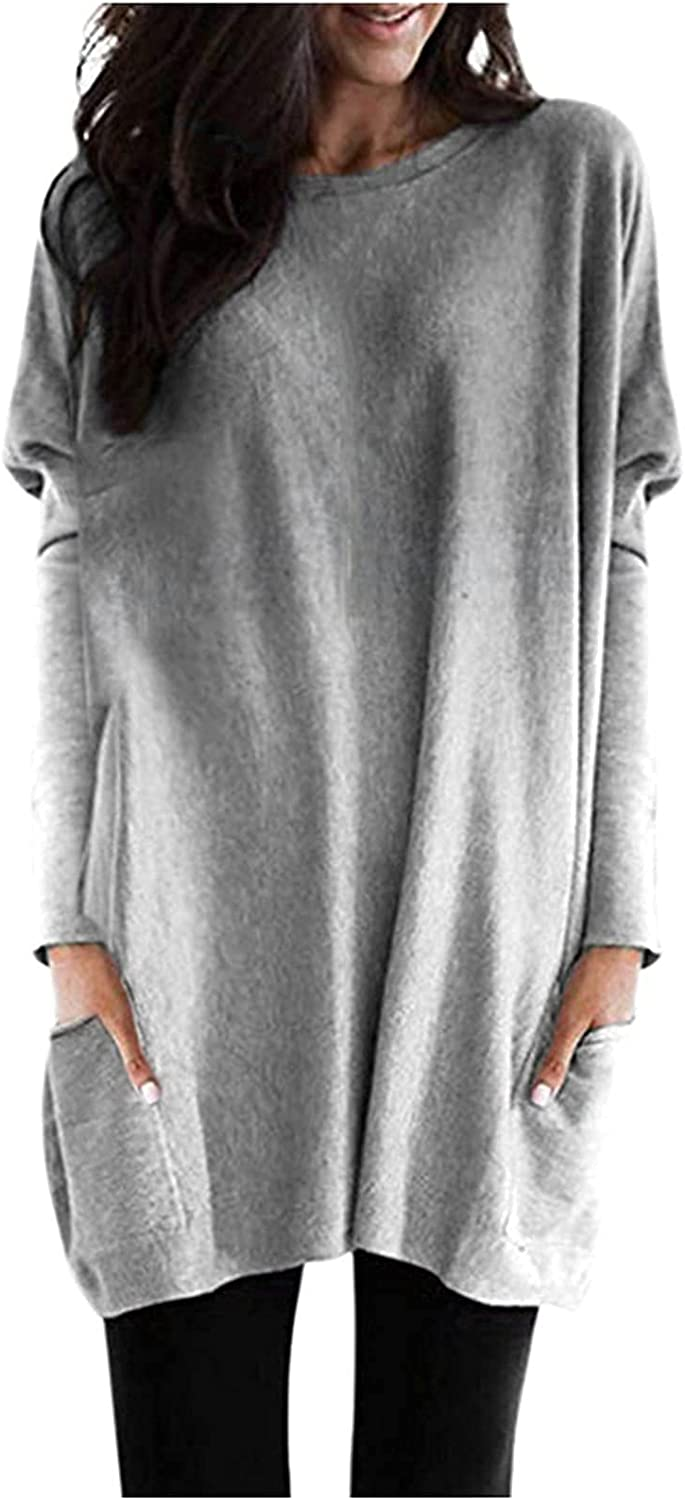 Women's Fashion Gradient Tunic Tops Casual Long Sleeve Crewneck Blouses Loose Fit Sweatshirt Workout Pockets Pullover