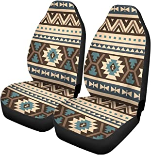 Pinbeam Car Seat Covers Beige Aztec Ethnic Pattern Blue Mexican Abstract African American Set of 2 Auto Accessories Protectors Car Decor Universal Fit for Car Truck SUV