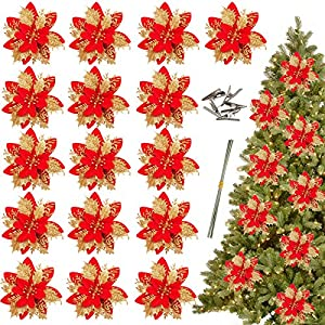 Greentime 16 Pcs 14cm / 5.5in Gold Red Poinsettia Artificial Christmas Flowers with Clips and Stems Glitter Christmas Tree Ornaments for Xmas Wedding Party Wreath Decoration