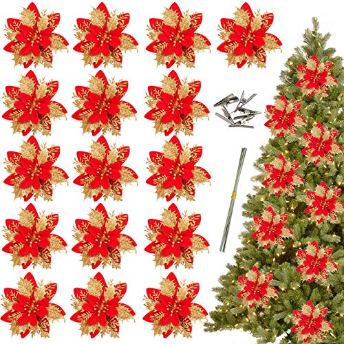 Greentime 16 Pcs 14cm / 5.5in Gold Red Poinsettia Artificial Christmas Flowers with Clips and Stems Glitter Christmas Tree Ornaments for Thanksgiving Xmas Wedding Party Wreath Decoration