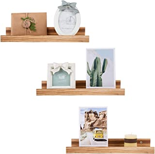 Picture Ledge Shelf Wood Floating Shelves,Wall Mount Shelves,16inch,Set of 3,for bedrooms,Office,Living Room, Kitchen(Natural logs)