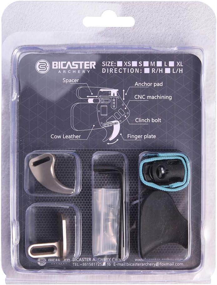Bicaster Archery Finger Tab Aluminum Plate Adjustable for Recurve Bow Left Handed Genuine Leather