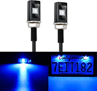 LivTee Super Bright 12V Waterproof Tag Screw Bolt License Plate LED Lights Holder Legal for Car Motorcycle Truck RV ATV Bike, Blue