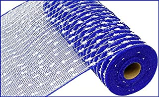 10.5 inch x 30 feet Cotton Ball Deco Poly Mesh Ribbon (Royal Blue)