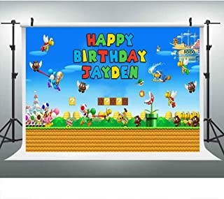LUCKSTY Customized Super Mario Bros Theme Birthday Party Backdrop, Mushroom Coin Background for Kids Children Baby Cake Table Banner Picture Props Photo Booth Props DSLU450