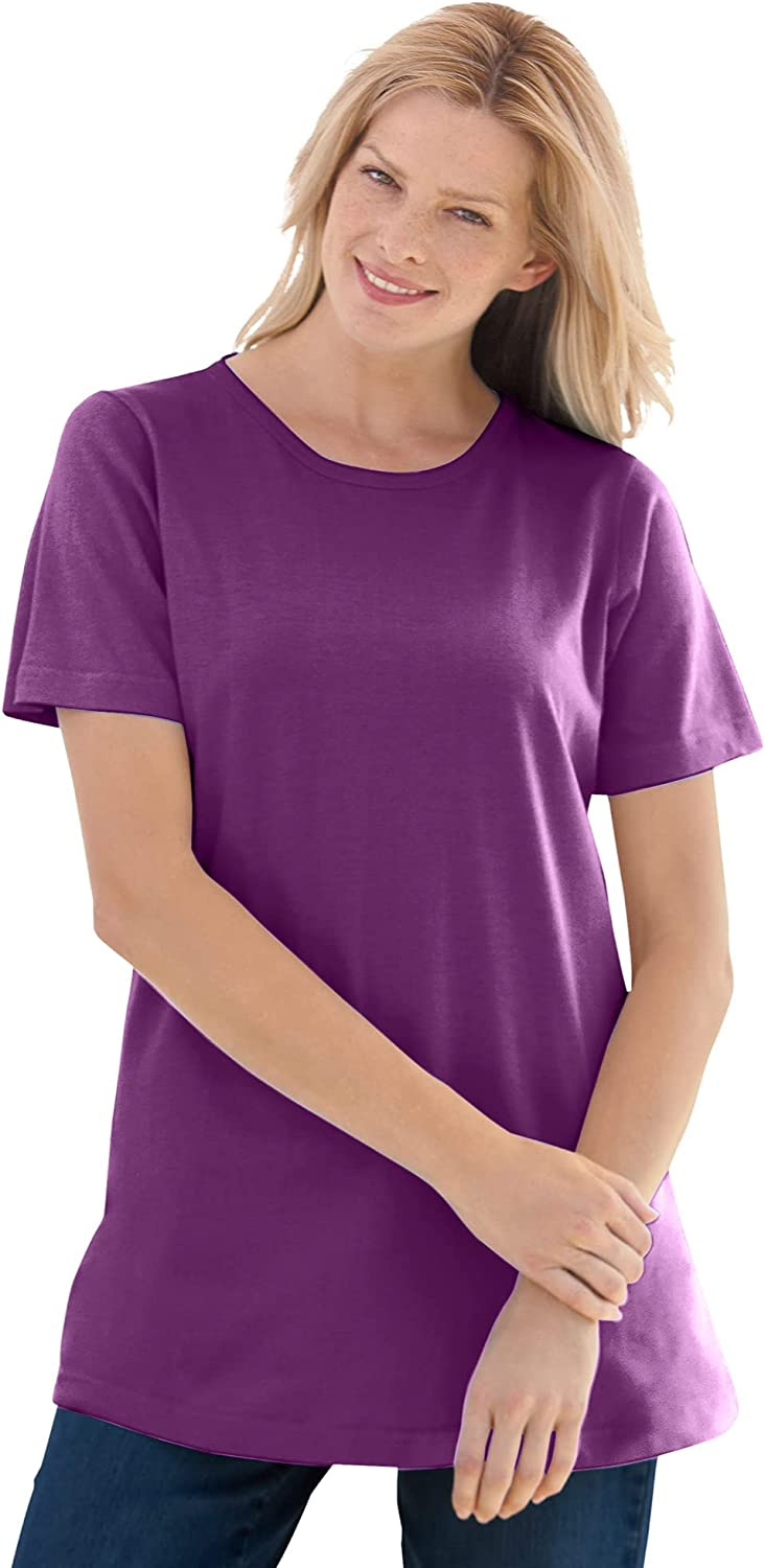 Woman Within Women's Plus Size Tee Beauty products Perfect Max 76% OFF Crewneck Short-Sleeve