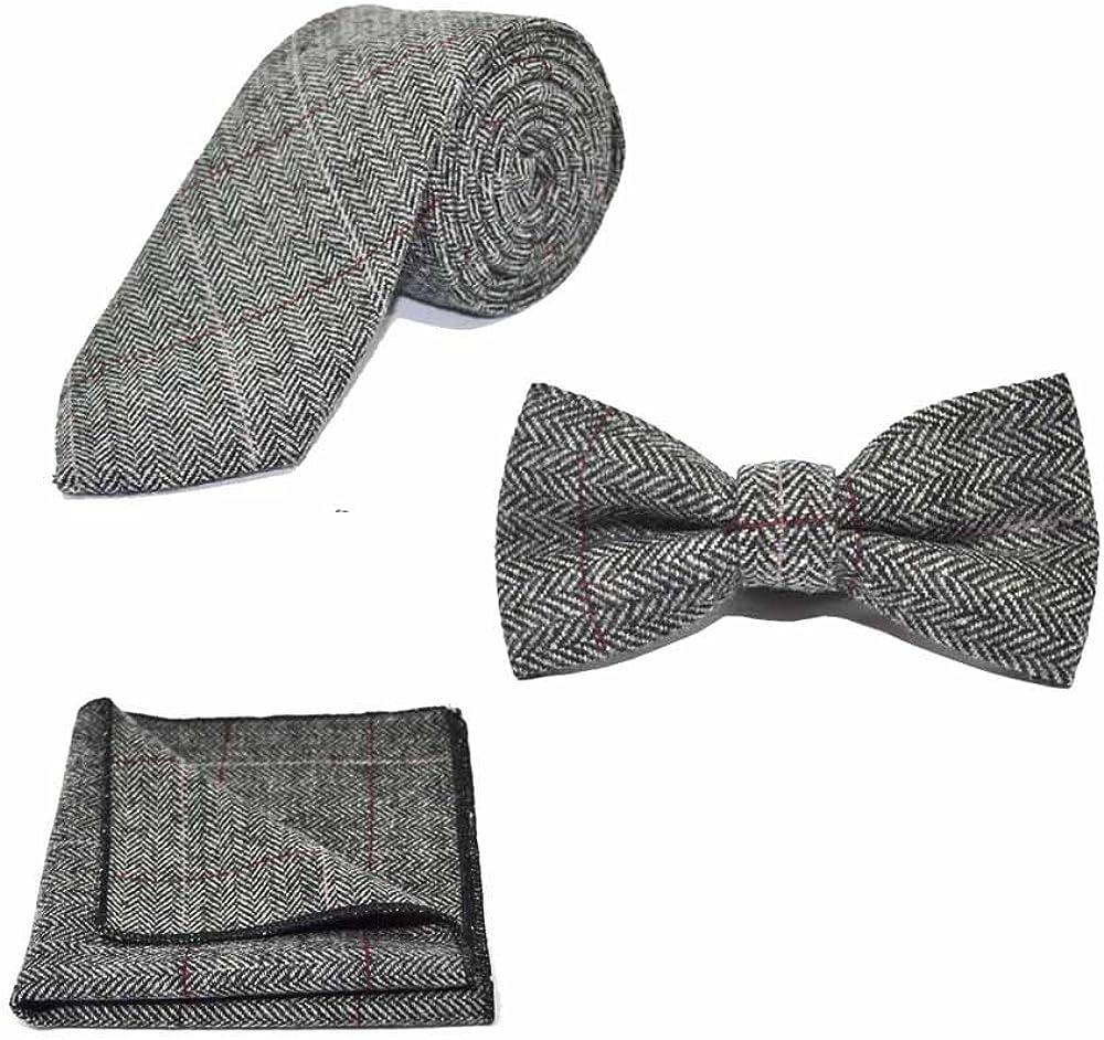 Luxury Herringbone Pewter Grey Bow Tie, Necktie & Pocket Square Set - Tweed, Plaid