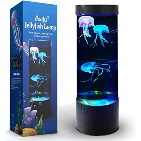 Jellyfish Lampe à lave LED Fantasy 20 couleurs changeantes avec 3 méduses Electric Mood Light Décoration pour la maison, le bureau, cadeau pour hommes, femmes, enfants