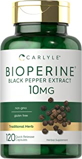 Bioperine 10 mg 120 Capsules, Non-GMO, Gluten Free - Sourced from Black Pepper Extract, Supports Curcumin Powder Absorption