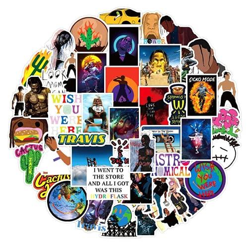 Ligoi 50 unids/Pack American Hip Hop Pop Singer Travis Scott Etiquetas Adhesivas para monopatín Casco portátil Pegatinas de Coche Juguetes para niños