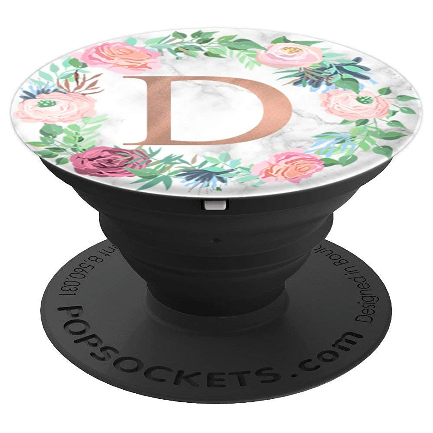 Rose Gold Letter D Marble PopSocket Monogram Initial D - PopSockets Grip and Stand for Phones and Tablets