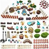 64pc Miniature Fairy Garden Accessories, Fairy Garden Figurines, Miniature Landscape Set Selected Fairy Garden Kit, Mini Figurines Kits, Potted Horticulture Ornaments Garden Decoration