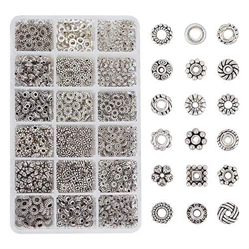 PandaHall Elite 900 Pcs/Box tibetischen Stil Legierung Bead Abstandshalter für Halskette Armband DIY Schmuck Machen, Antik Silber, 18 Formen
