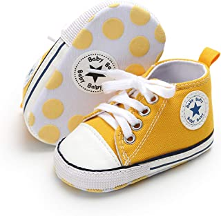 Antheron Baby Girls Boys Canvas Shoes Soft Sole Toddler First Walker Infant High-Top Ankle Sneakers Newborn Crib Shoes