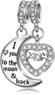 Christmas Charms Gifts 925 Sterling Silver Dangle Charms for Bracelet Engraved Mom I Love You to The Moon and Back, Ideal Jewelry Gifts for Wife & Mom