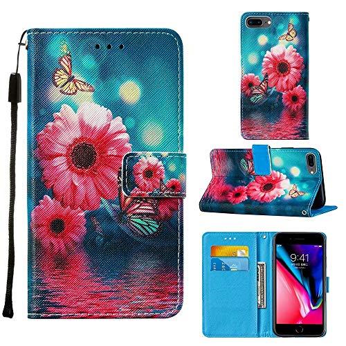 """Miagon Lanyard Brieftasche Etui für iPhone 8 Plus/7 Plus 5.5"""",Retro Gänseblümchen Schmetterling Entwurf Pu Leder Magnetverschluss Weich Innere Buchstil Schutzhülle Klapphülle mit Standfunktion"""