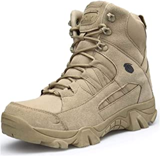 Assault Boots for Man Waterproof Fabric Leather Wool High Top lace Up Style Jungle Boots Non-slip Anti-wear Rubber Sole (C...