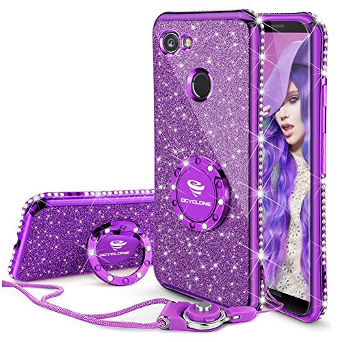 Google Pixel 2 XL Case, Glitter Bling Diamond Rhinestone Bumper Cute Pixel 2 XL Phone Case for Girls with Ring Kickstand Sparkly Protective Google Pixel 2 XL Case for Girl Women - Purple