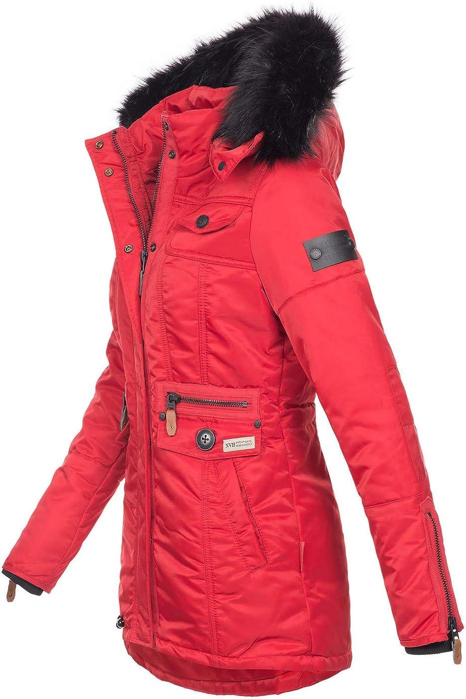 Navahoo Damen Winter Jacke Parka Teddyfell Winterjacke Kunstfell Mantel B615 Rot