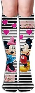 NHUXAYH, Calcetines hasta la rodilla Calcetines de compresión Mickey Loving Rainbow para niñas y mujeres