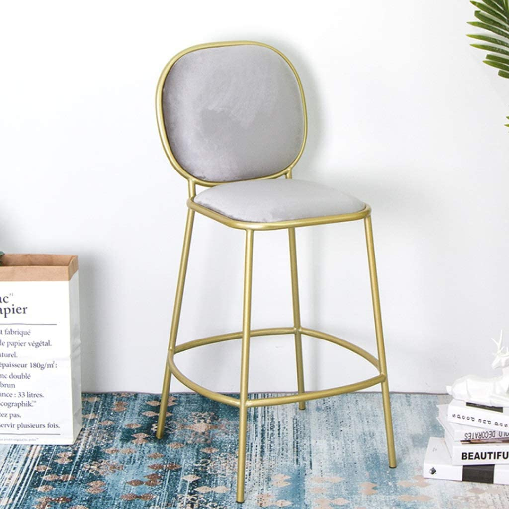 Tabourets Tabourets de bar, chaises de bar Pub européen Chaise de bar restaurant simple, selles décontractées, tabouret doré, chaise de fer Stool (Couleur : F) E