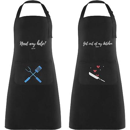 Lemecima 2 Pezzi Grembiule Cucina Impermeabile Grembiule da Cucina Chef Grembiule da Barbecue Regolabile Grembiule Cucina per Donna e Uomo con Tasche Grembiuli per Cottura e Regali(Nero)